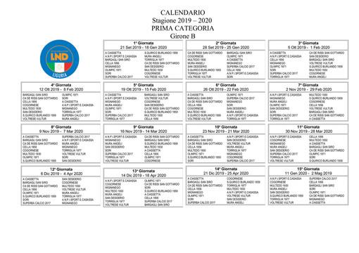 PRIMA CATEGORIA GIRONE B Il nuovo calendario