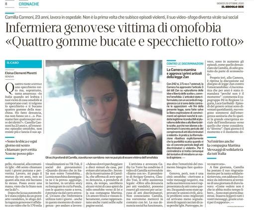 L'articolo del Secolo XIX sulla vicenda di Camilla Cannoni