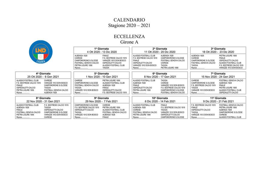 ECCELLENZA Ecco il nuovo calendario del girone A   Settimanasport.com