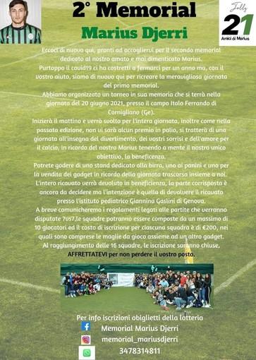 MEMORIAL MARIUS DJERRI Il 20 giugno a Cornigliano la seconda edizione