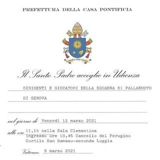 PALLANUOTO L'Iren Quinto questa mattina in udienza da Papa Francesco