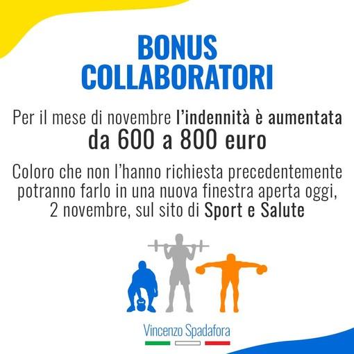 BONUS COLLABORATORI SPORTIVI 800 euro per l'indennità di novembre
