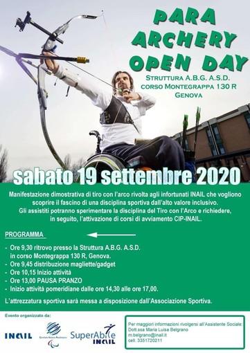 """Tiro con l'arco: a Genova l'evento """"Para Archery Open Day"""""""
