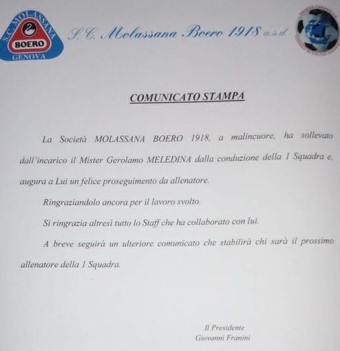 MOLASSANA Esonerato Meledina