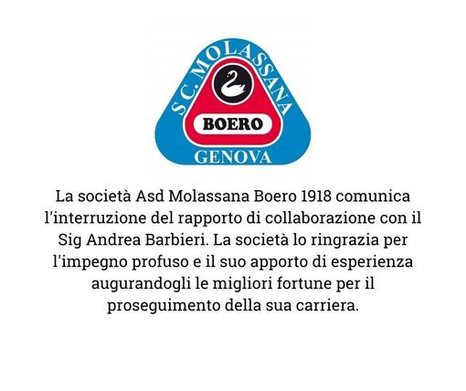 MOLASSANA Si interrompe il rapporto con Barbieri e Bongiorni