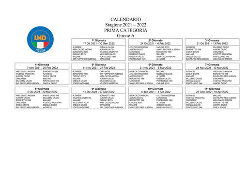 PRIMA CATEGORIA Ecco tutti i calendari