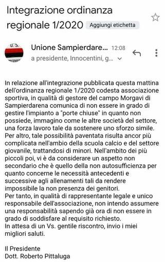 "ALLARME CORONAVIRUS La Sampierdarenese esclude le ""porte chiuse"""