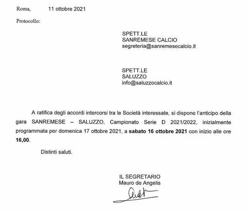 SERIE D Sanremese-Saluzzo anticipata a sabato ore 16